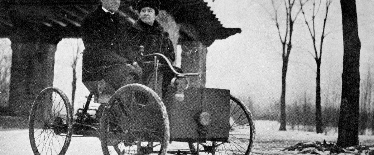 Mr & Mrs Henry Ford in his first car