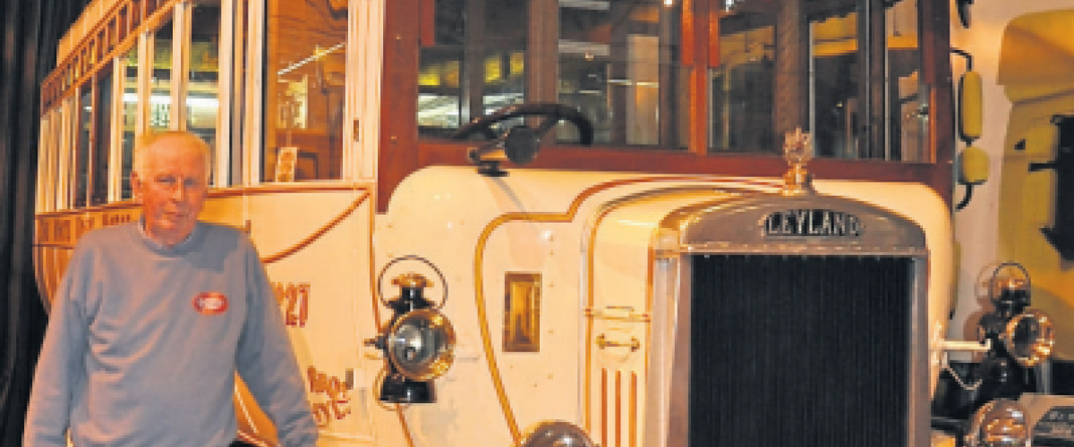 Keith Moyes with the Museum's 1923 Leyland SG7 Bus.